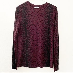 Vince Wysteria Leopard Print Long Sleeve Knit Top